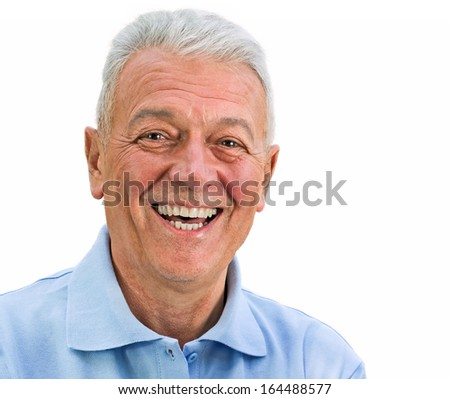 Man looking up smiling old