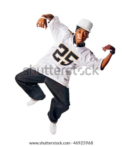 Handsome hip-hop young man dancing isolated on white background