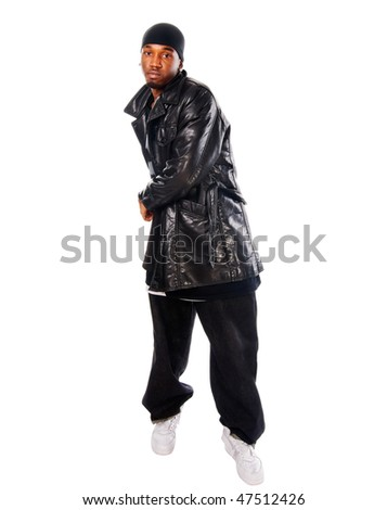 Handsome hip-hop young man isolated on white background