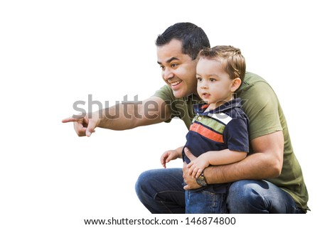 Handsome Hispanic Father Pointing With Mixed Race Son Isolated on White. - stock photo