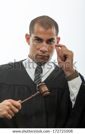 Handsome hispanic judge - stock photo