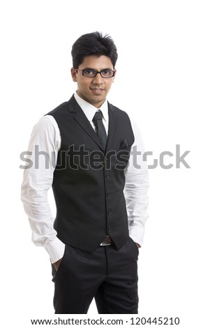 Handsome Indian young businessman on white. - stock photo