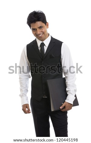 Handsome Indian young businessman with document on white. - stock photo