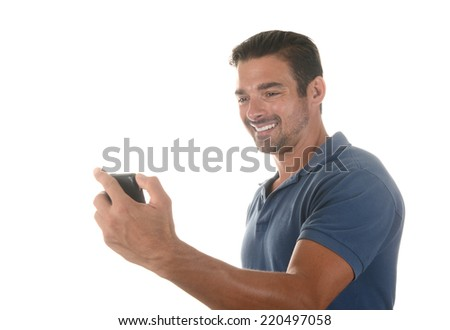 Handsome italian man Takes selfie Picture - stock photo
