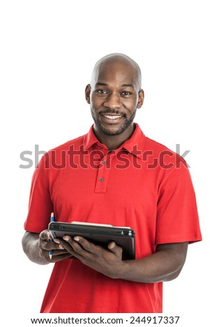 Handsome late 20s black man camp director holding a clipboard isolated on a white background