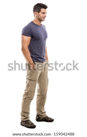 Handsome latin man, isolated over a white background - stock photo