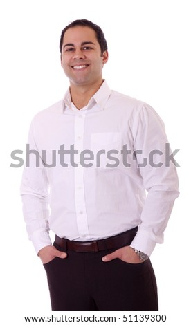Handsome latino business man with great smile.