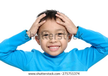 Handsome Little Boy, expression fun face Isolated - stock photo