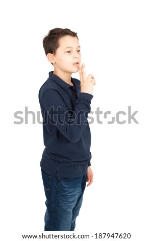 Handsome little boy posing - stock photo