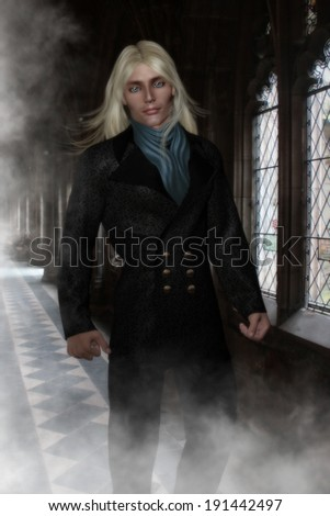 Handsome male character with steel blue eyes and long blonde hair.  Wearing a  Victorian double breasted Jacket and blue scarf  walking down a hallway of mist and old Victorian windows.