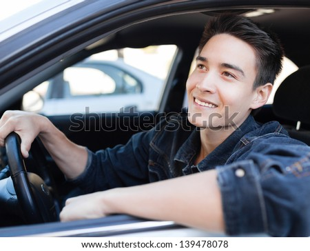 Handsome male driver