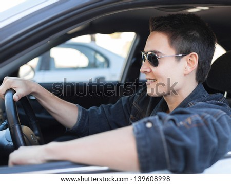 Handsome male driver - stock photo