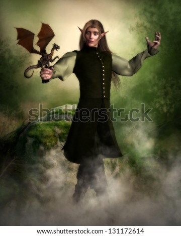 Handsome male elf character holding a tiny dragon surrounded by mist in a forest background. - stock photo