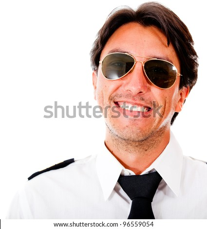 Handsome male pilot smiling - isolated over a white background - stock photo