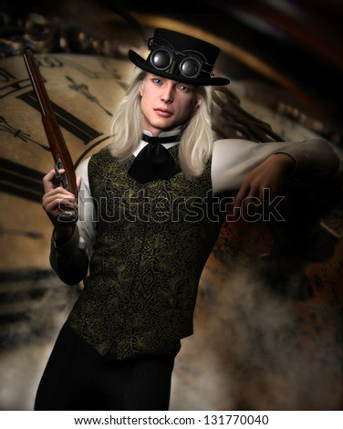 Handsome male Steam punk Gent wearing a Victorian style vest, tie shirt and pants and a Steampunk hat and goggles holding a antique pistol.  Clockwork and steam background.