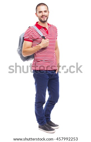 Handsome Male student with backpack and notebooks standing on white background