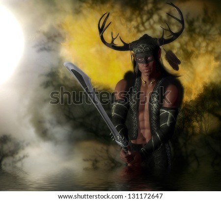 Handsome male warrior elf character wearing an antler helmet holding a sword in the fiery forest.
