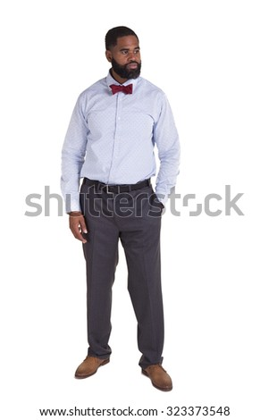 Handsome male wearing a bow tie isolated on white