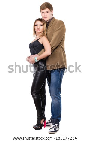 Handsome man and pretty blond woman. Isolated on white - stock photo
