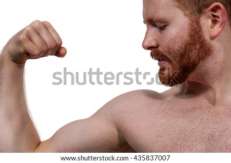 Handsome man body builder flexing his muscles