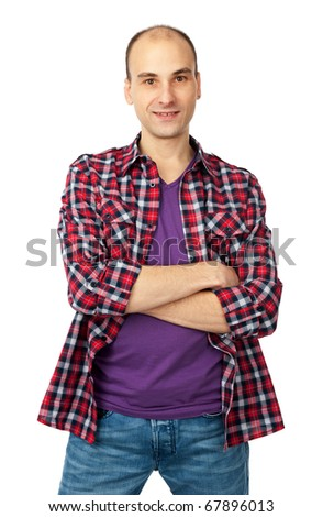Handsome man casually posing with arms crossed isolated on white