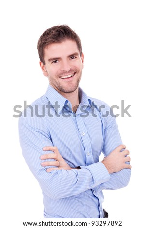 Handsome man casually posing with arms crossed on white background