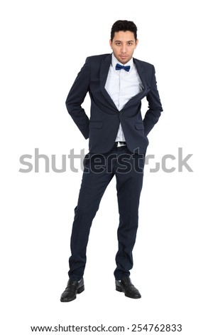 Handsome man doing different expressions in different sets of clothes: full length posing