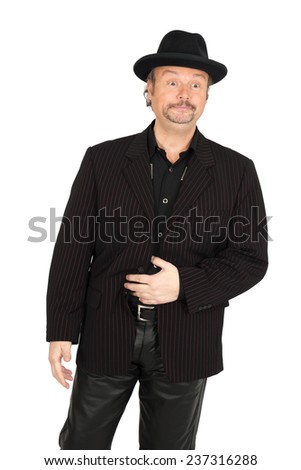 Handsome man doing different expressions in different sets of clothes: hungry - stock photo