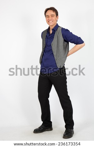 handsome man doing different expressions in different sets of clothes: posing