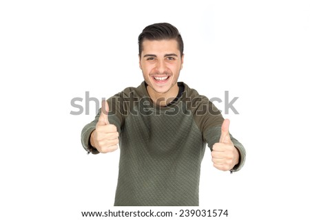 Handsome man doing different expressions in different sets of clothes: thumbs up - stock photo