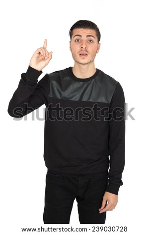 Handsome man doing different expressions in different sets of clothes: want to speak - stock photo