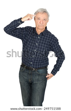 Handsome man doing different expressions in different sets of clothes: you are crazy - stock photo