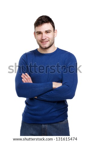 Handsome man dressed casually smiling at the camera isolated on a white background