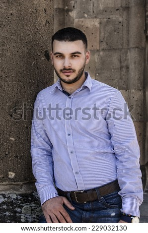 handsome man fashion portrait - stock photo