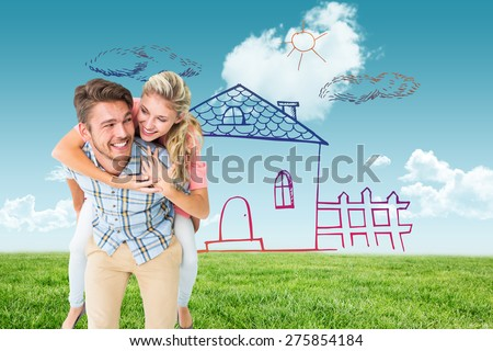 Handsome man giving piggy back to his girlfriend against blue sky over green field - stock photo