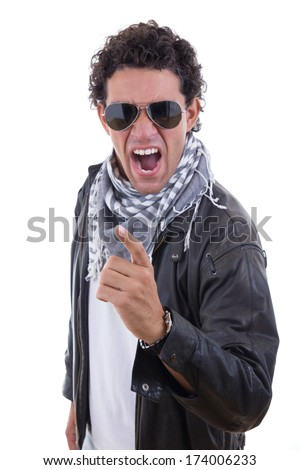 handsome man in a leather jacket with sunglasses yelling