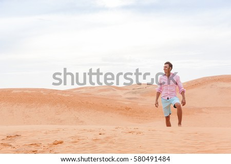 Handsome Man In Desert Young Guy Sand Dune Landscape Background