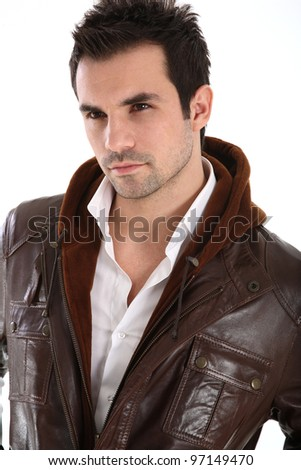 Handsome man in leather jacket - stock photo