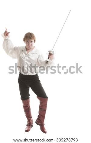 handsome man in medieval clothes with sword on white background