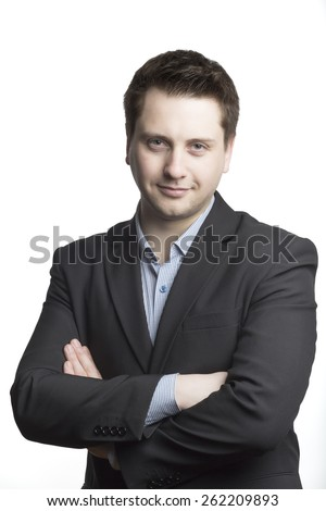 Handsome man in suit on a white background