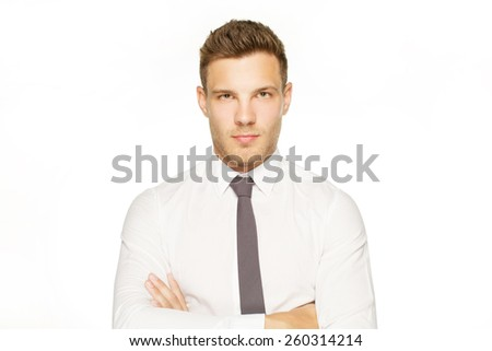 Handsome man in white shirt and black tie look at camera on white background - stock photo