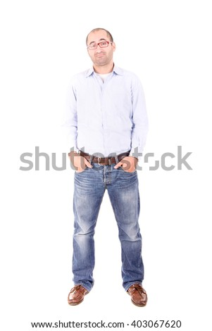 handsome man isolated in white