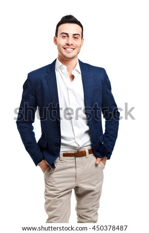 Handsome man isolated on white