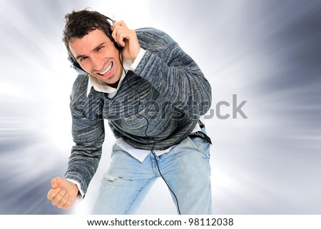 handsome man listening the music