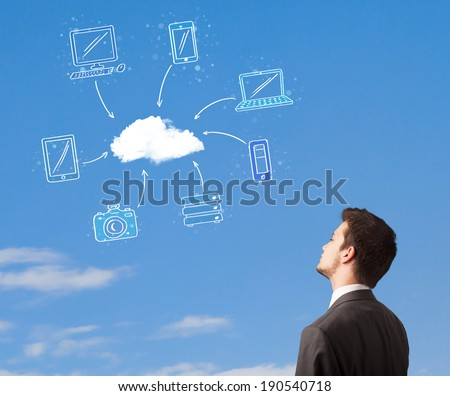 Handsome man looking at cloud computing concept on blue sky