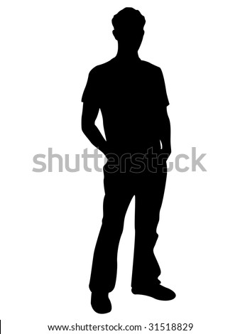 handsome man on isolated background - stock photo