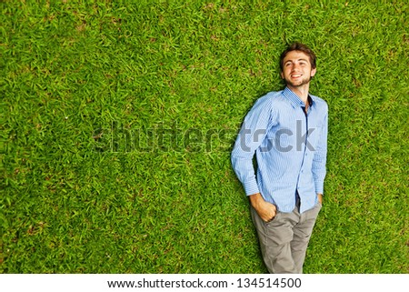 handsome man on the grass