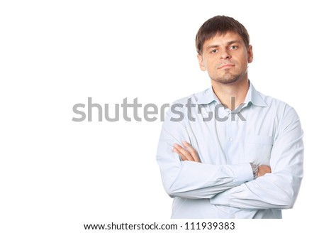 Handsome man on the white background.Space.Business man. Professional look.