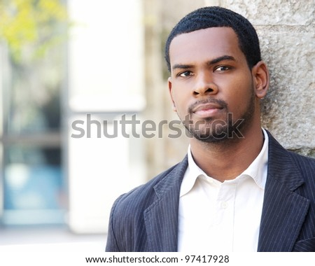 Handsome man outdoors portrait. - stock photo