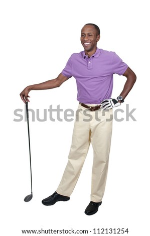 Handsome man playing a round of the sport known as golf